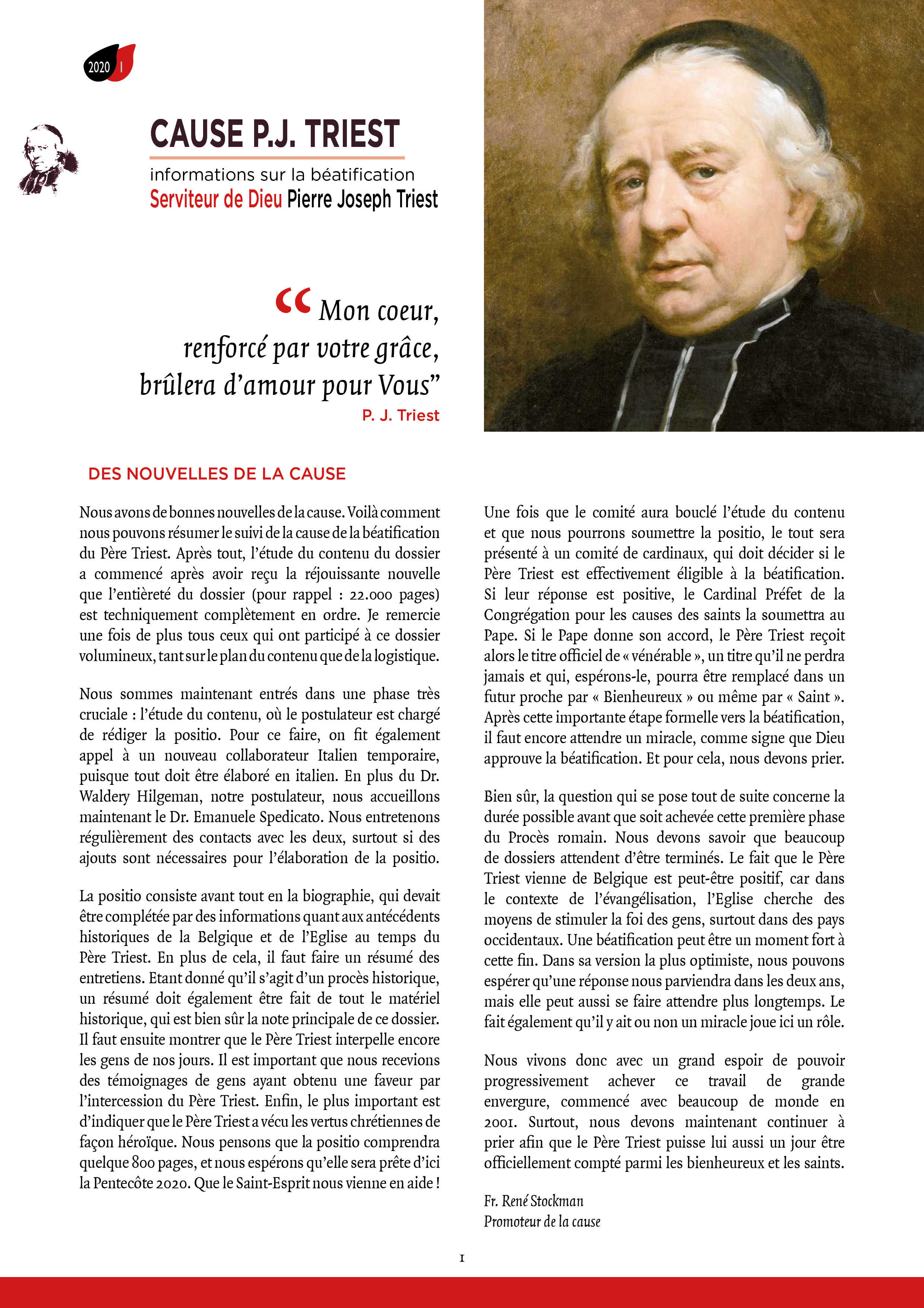 Bulletin d'information Cause P.J. Triest